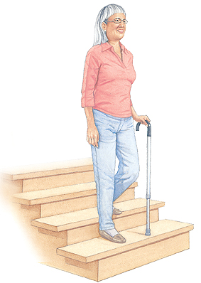 Image of woman with cane