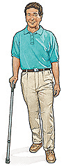 Image of man with cane