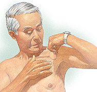 Patient applying patch on chest