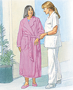 Patient walking with nurse