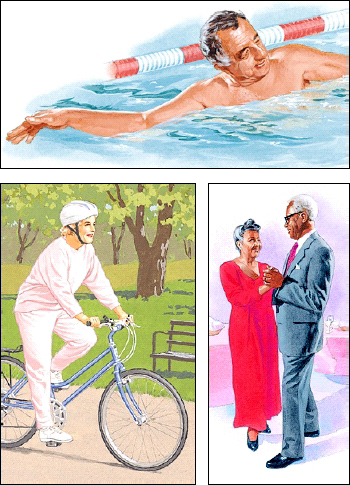 Images of swimming, bicycling, dancing