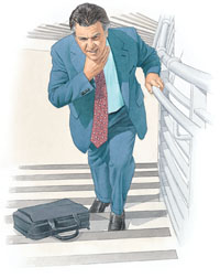 Man climbing stairs, clutching neck