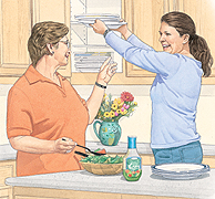 To protect your breastbone, ask family members for help reaching high shelves