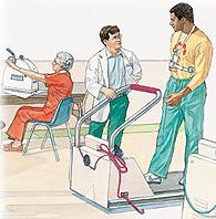 Patient at cardiac rehabilitation center