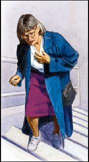 woman climbing steps clutching chest