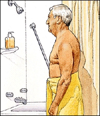 Patient taking a shower
