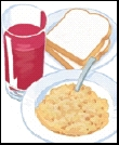 Fruit juice, toast, and hot cereal