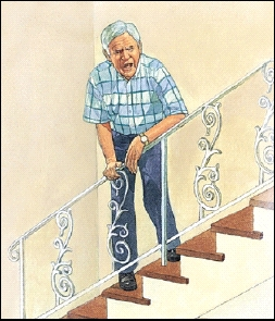 Man short of breath, climbing stairs
