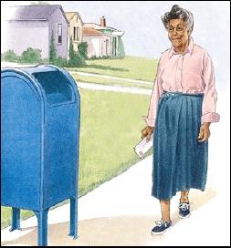 Woman walking to mailbox