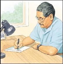 Image of man writing
