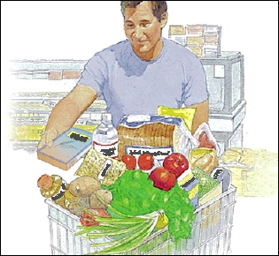 Man grocery shopping for high fiber foods